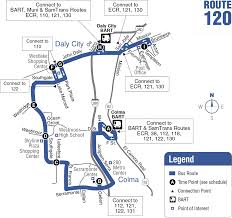 San Jose Bus Routes Map by 120 Bus Route Samtrans Sf Bay Transit