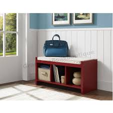 cubby storage bench red entryway cushioned seat with shoe
