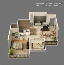 3 Bedroom Flat Floor Plan by 50 3d Floor Plans Lay Out Designs For 2 Bedroom House Or Apartment