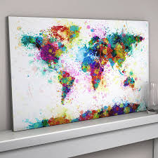 Watercolor Map Of The World by Paint Splashes World Map Art Print By Artpause