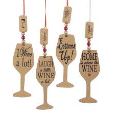 wine silhouette pack of 24 wooden cork wine glass silhouette christmas ornaments 6