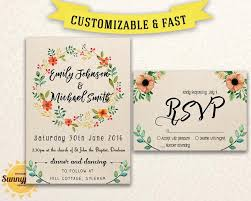 rustic wedding invitation templates printable wedding invitation template floral kraft
