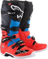 motocross boots size 7 alpinestars tech 7 red fluorescent cyan gray black blue motocross