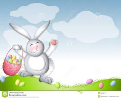 bunny basket eggs easter bunny hopping with basket of eggs royalty free stock