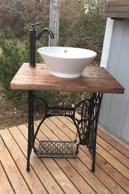 vintage upcycled singer sewing machine base made into rustic vintage upcycled singer sewing machine base made into rustic bathroom vanity priced with or w o vessel sink faucet drain ready to ship