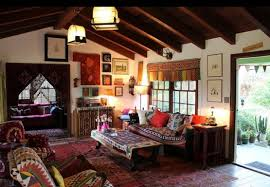 bohemian interior design with classic furniture set and