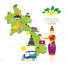 Map Of Laos Laos Map And Landmarks With Traditional Dancer Stock Vector Art