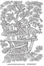 coloring pages for adults tree coloring pages kids adults tree house stock vector 653650927