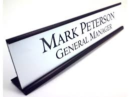personalized desk name plate nameplate white with black aluminum