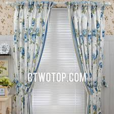 White And Blue Curtains White Blue Flowers Floral Country Traditional Fancy Curtains