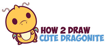 how to draw cute dragonite chibi kawaii from pokemon easy step