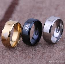 fashion titanium superman logo finger ring rings