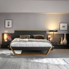modern bed frame with grey wall color for charming bedroom