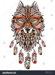 Wolf Indian Tattoos - ethnic totem wolf indian wolf stock vector 326262422