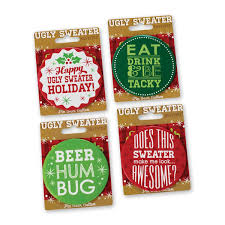 ugly sweater christmas party buttons 4 jumbo metal pins