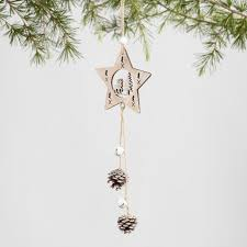 wood shape ornaments with bells and pinecones set of 3 world market