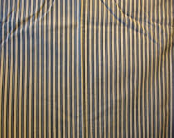 Blue And White Striped Upholstery Fabric Blue White Ticking Etsy