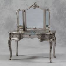 antique silver french style large dressing table and mirror