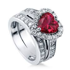 Heart Shaped Wedding Rings by Sterling Silver Heart Shaped Simulated Ruby Cubic Zirconia Cz Halo