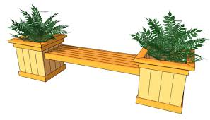 Standing Planter Box Plans by Wooden Bench Seat With Planter Boxes Wood Bench With Planter Plans