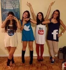 teen girls disguised as social media see more fun halloween