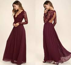 2017 burgundy chiffon bridesmaid dresses long sleeves western