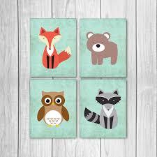 Raccoon Nursery Decor 75 Sale Woodland Nursery Decor Set Of Four 8x10s Fox