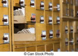 Library Catalog Cabinet Database Concept Vintage Cabinet Library Card Or File Stock