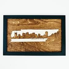 tennessee nashville framed wood city scape nashville skyline
