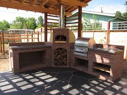 Outdoor Brick Fireplace Grill by Outdoor Kitchen With Wood Fired Oven And Grill Firespeaking