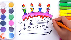coloring pages for kids to learn colors w birthday cake how to