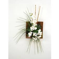 silk orchids wall hanging with silk orchids bamboo and grass in a wood sushi