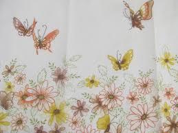 vintage curtains butterfly ruffle sheers u0026 orange roses drapes