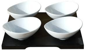 modern oval x4 white ceramic dishes 11cm on black wood tray