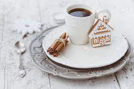 Cuisine Shabby Chic Shabby Chic Style Coffee Cup And Plate With Gingerbread House