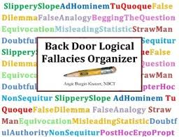 back door logical fallacies organizer by angie kratzer tpt