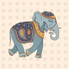 indian elephant in hand drawn cartoon style vector clipart image