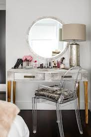 Makeup Vanity With Chair Gray Bedroom With Lucite Makeup Vanity And Silver Chair