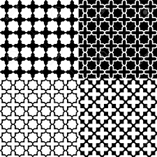 moroccan black and white seamless patterns set royalty free