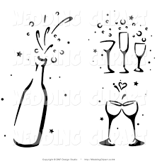 champagne bottle cartoon vector cartoon marriage clipart of black and white wedding
