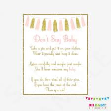 pink and gold baby shower games don u0027t say baby printable