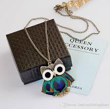 owl necklace pendants images Wholesale new bohemian peacock feather owl pendant necklaces jpg