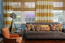Orange And White Striped Curtains Home Interior Chic Small Livingroom Design With Beige Rolled