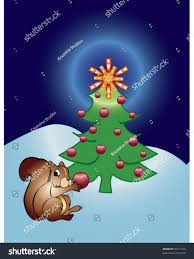 vector squirrel decorating living christmas tree stock vector