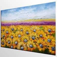 canvas wall art landscape painting sunflower painting wall art
