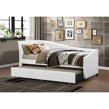 contemporary faux leather daybed with trundle by baxton studio