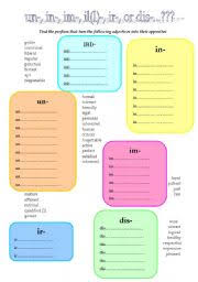 english teaching worksheets negative prefixes