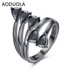black fashion rings images Gun black color water drop flower ring uptodeals jpg