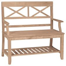double x back unfinished bench w arm u0026 shelf contemporary