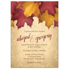 autumn wedding invitations invitations rustic burgundy gold autumn leaves